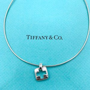 Authentic Tiffany & Co Silver Cross Wire Necklace